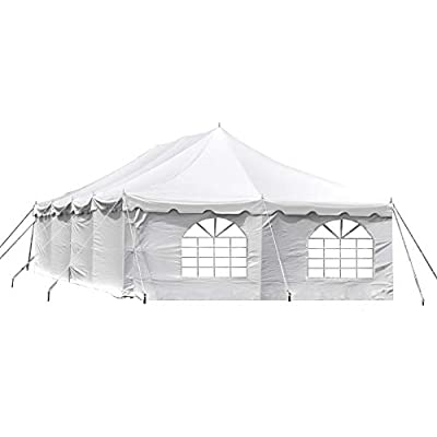 20-Foot by 40-Foot Deluxe White Canopy Pole Complete Outdoor Party Tent Set with Two Cathedral Sidewalls & Two Solid Sidewalls, Storage Bag, Stakes, Ropes, and Poles for Weddings, Events, Parties : Garden & Outdoor