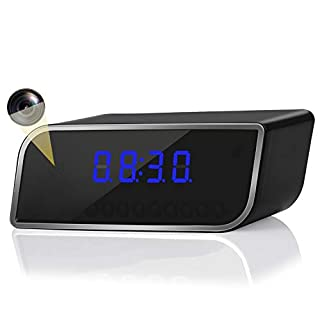 Alarm Camera Clock, Wireless WiFi Camera 1080P Clock Camera with Night Vision Function and Motion Detection Angle, can be viewed remotely Through APP, Suitable for Home Security
