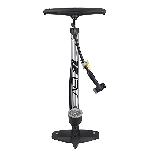 BV Bicycle Ergonomic Bike Floor Pump with Gauge & Smart Valve Head, 160 psi, Automatically Reversible Presta and...