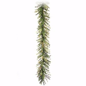Vickerman Mixed Country Pine Green Garland with 100 Clear Dura-Lit, 16-Inch