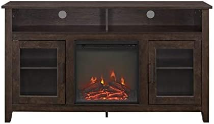 """Pemberly Row 58"""" Tall Electric Fireplace TV Stand Console Highboy Rustic Wood"""