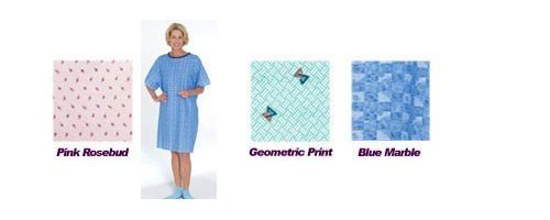 `Tie-Back Adult Gown Blue Marble Print (Patient Gown Tie)