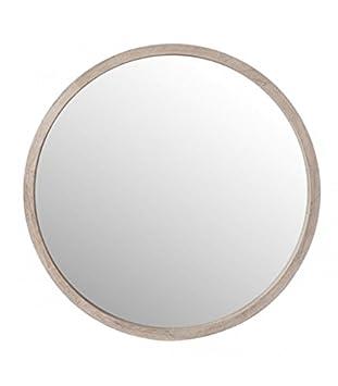 Wadiga Spiegel Rund Aus Holz Gebleicht Durchmesser 60 Cm Amazon