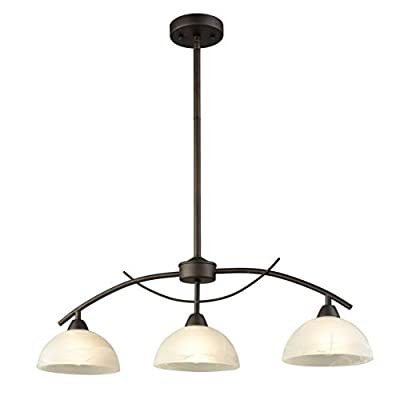 """Dazhuan Vintage Frosted Glass Shade Pendant 3-Lights Chandelier Hanging Ceiling Lighting Fixtures - ETL Listed, Metal Arched Dome Shade Glass Pendant Lighting Fixture in 3-Light Frosted Alabaster Glass Lampshade Pendant Ceiling Lighting. The finish is dark brown in color but contains tiny gold flecks Body Dimensions: 29.72"""" in width, 52.75"""" in overall height, adjustable hanging length, compatible with sloped ceiling, weighs 5.2lbs/2.4 kg (NET) - kitchen-dining-room-decor, kitchen-dining-room, chandeliers-lighting - 311bwWCoi7L. SS400  -"""