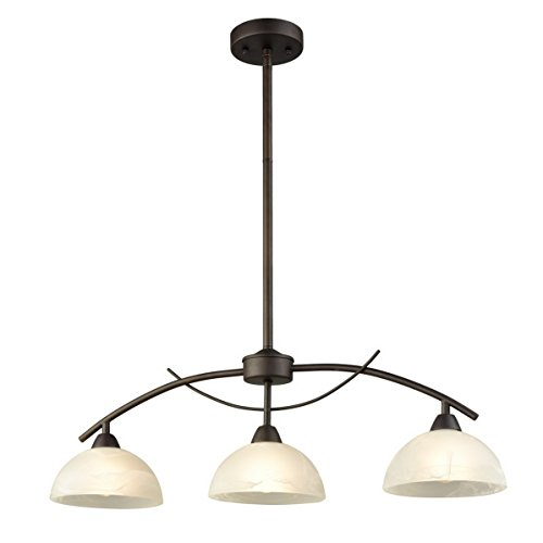 Dazhuan Vintage Frosted Glass Shade Pendant 3-Lights Chandelier Hanging Ceiling Lighting Fixtures (Kitchen Lighting Fixtures Hanging)