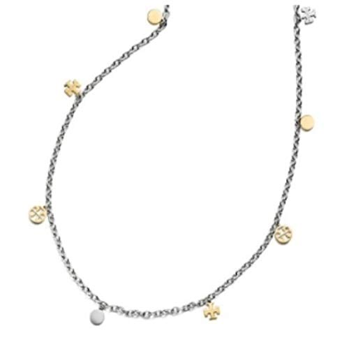 Tory Burch Logo Charm Rosary Necklace (Silver/Gold)