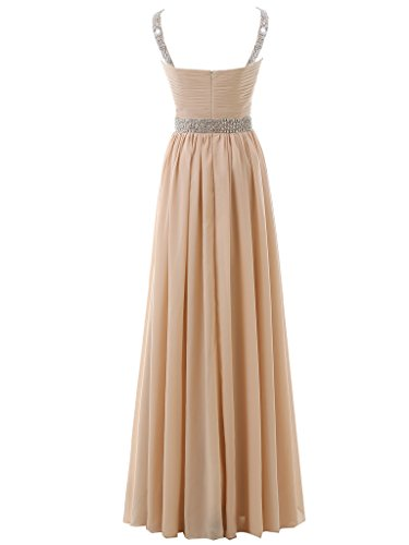Beaded Evening Dress Chiffon Sleeves Prom Solovedress Bridesmaid Tinafy Cap Long Women's Gown SROnx0W4