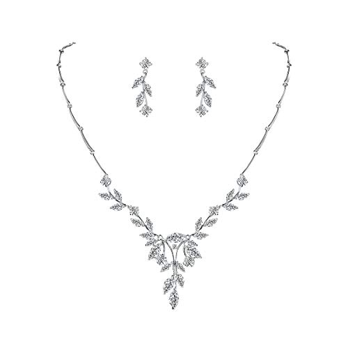 WeimanJewelry Women Marquise Cut Cubic Zirconia Leaf Bridal Y-Necklace and Dangling Earring Jewelry Set for Wedding (Silver)