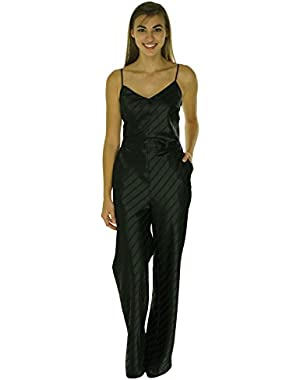 Guess V-Neck Satin Striped Jumpsuit Black 4