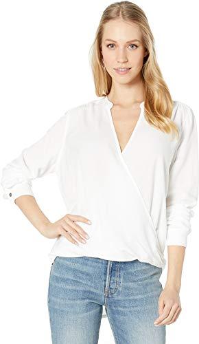 Splendid Women's Surplice Long Sleeve Top, White, L - Long Sleeve Surplice
