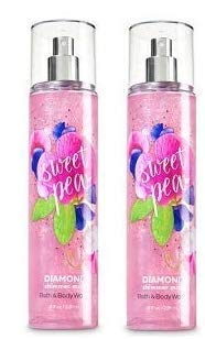 Bath and Body Works 2 Pack Sweet Pea Diamond Shimmer Mist 8Oz.
