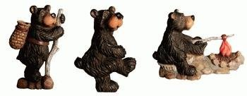 Magnets, Camping Bear Figure Collectible Magnets, 3-inch, Set of 3