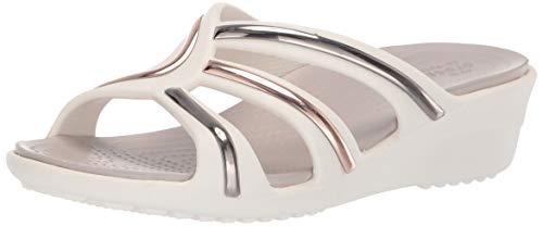 (Crocs Women's Sanrah MetalBlock Strap Wedge Sandal, Multi Rose Gold/Oyster, 4 M US)