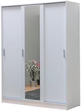 Moebelnet Kaja - Armario (3 puertas correderas, con espejo), color blanco: Amazon.es: Hogar