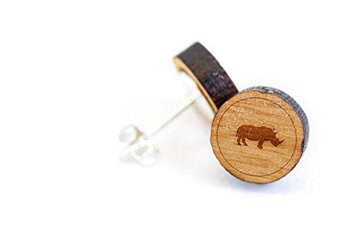 WOODEN ACCESSORIES COMPANY Wooden Stud Earrings With Rhino Laser Engraved Design - Premium American Cherry Wood Hiker Earrings - 1 cm Diameter (Earrings Rhino)