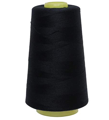 Shapenty 3000 Yards Polyester Sewing Thread Spools Cone All-Purpose Connecting Threads for Hand Machine Sewing Quilting Stitching and Clothes Beading Canvas Fabric Knitting Repair Works (Black)