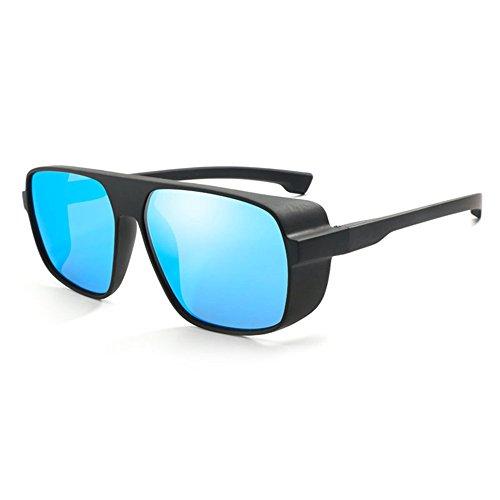 - Steampunk Polarized Sunglasses Men Women Side Shield Oversize Glasses By Long Keeper (Blue)