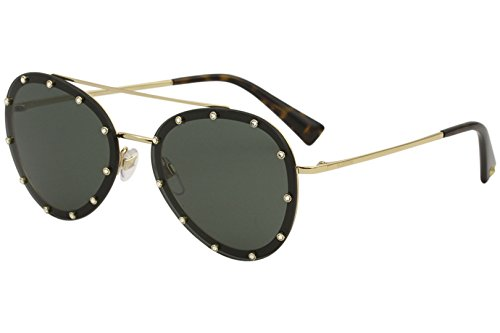 Valentino Women's VA2013 VA/2013 3002/71 Gold/Black Pilot Sunglasses ()