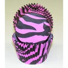 50pc Black And Pink Zebra Design Standard Size Cupcake Baking Cups Liners Wrappers