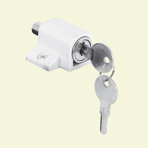 Gatehouse Heavy-Duty Push-In Keyed White Sliding Patio Door Cylinder Lock