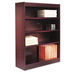 -- Square Corner Wood Veneer Bookcase, 4-Shelf, 35 5/8w x 11-3/4d x 48h, Mahogany 48h 4 Shelf