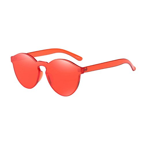 Misaky Fashion Women's Cat Eye Shades Sunglasses Integrated UV Candy Colored Glasses (Red, - Glasses Red Shades