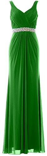 MACloth Women Sheath Long Prom Dress Straps V Neck Wedding Evening Formal Gown Verde