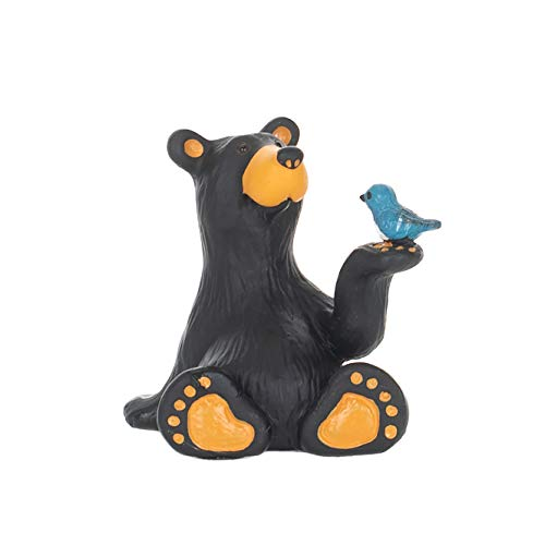 Minnie Bear With Bird Mini Midnight Black 3 x 2 Resin Stone Collectible Figurine ()