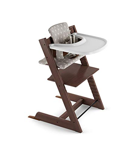 Tripp Trapp by Stokke Adjustable Wooden Walnut Baby High Chair (Includes Baby Seat with Harness, Grey Star Cushion and White Tray)