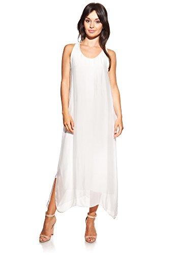 Laura Moretti - Vestido largo de seda con escote en U y aperturas laterales Crudo