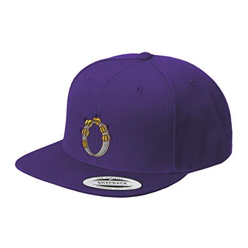 Snapback Baseball Cap Music Instrument Tambourine Embroidery Design Acrylic Cap Snaps Purple Design Only]()