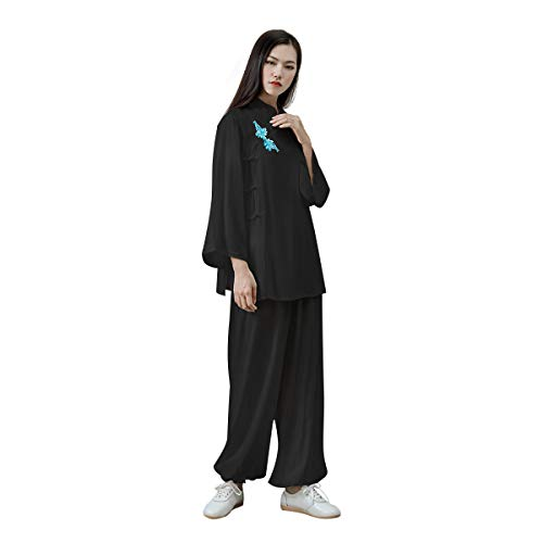 KSUA Womens Kung Fu Uniform Tai Chi Suit Martial Arts Suit Zen (Black, US S)
