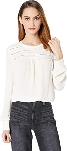 (Vince Camuto Womens Long Sleeve Pintuck Yoke Soft Texture Blouse Antique White XS)