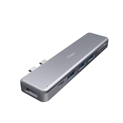 iHaper C001 USB C Hub, 7-in-2 Duo Type-C Adapter with Thunderbolt 3 5K@60Hz UltraHD, 100W Power Delivery, 4K HDMI, SD/Micro SD Card Reader, 3 USB 3.0 Ports for MacBoook Pro 2018/2017/2016