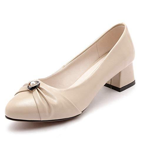 Women's Low Heel Oxford Shoes Leather Slip-On Comfort Block Heel Shoes Casual Dress Pump Loafers Beige
