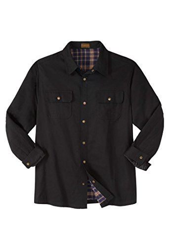 Boulder Creek Men's Big & Tall Flannel-Lined Twill Shirt Jacket, Black Big-2Xl