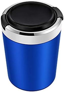 ほとんどの車室内ホームに適した蓋付きの旅行車の灰皿、すす貯蔵タンク付きLEDライト (Color : 青)