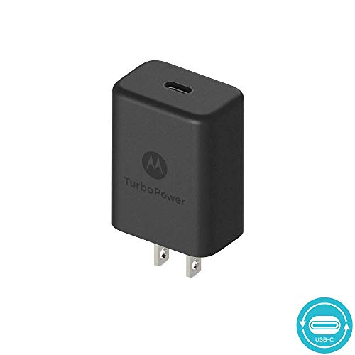 Motorola TurboPower 27 PD Type C Charger w/Power Delivery for Moto Z/Z2/Z3/X4/G6/G6 Plus, USB C (Retail Box) No Cable
