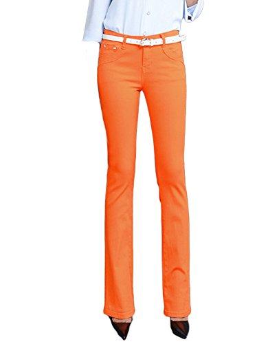 Up Donne Ufficio Pantaloni Slim DELEY Sigaretta Jeans Fit Pants Vintage Sottili Signora Lunghi Stile Push Elegante Casual Arancione Elastico Larghi Gamba vqwTdq1