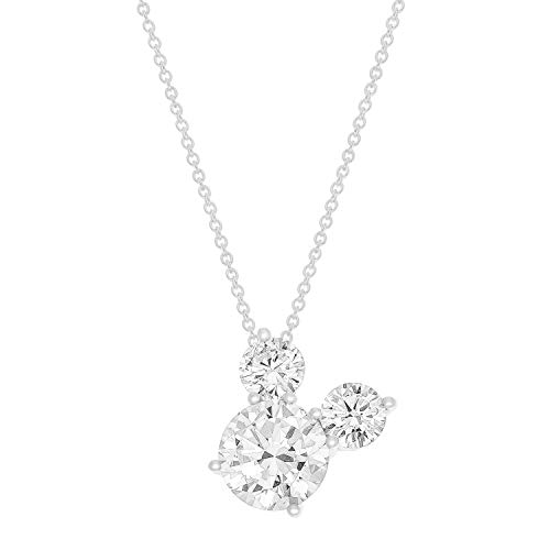 "Disney Mickey Mouse Sterling Silver Cubic Zirconia Pendant Necklace, 18"" Chain, Mickey's 90th Birthday Anniversary for $<!--$49.99-->"