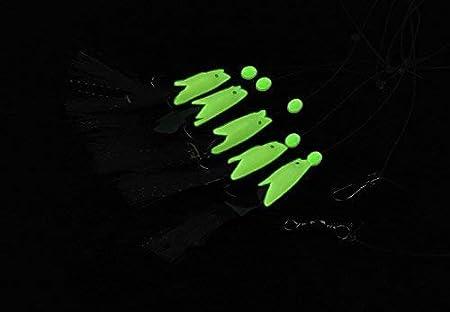 Fishcm Luminous Sabiki Fishing Rigs Glow Soft Fish//Shrimp Sabiki Lure Saltwater//Freshwater Fishing Bait Rigs
