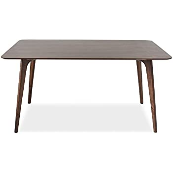 Edloe Finch EF Z4 DT005 Mid Century Modern Dining Table   Walnut Wood   60  Inch Kitchen Dining Room Table