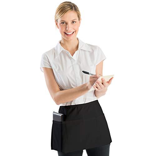 "BOHARERS Server Aprons with 3 Pockets 3 Pack - Waist Apron for Women Men Waitress Waiter Black Half Apron Kitchen Restaurant, 24"" X 12"" for Holding Server Book Guest Check Card Holder by BOHARERS (Image #8)"