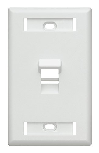 (Leviton 42081-1WS 1-Port Angled QuickPort Wallplate with ID Windows, White)