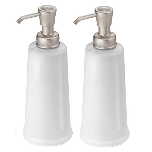 - mDesign Modern Bathroom Ceramic Refillable Liquid Soap Dispenser Pump Bottle for Vanity Counter Tops, Kitchen Sink - Holds Hand Soap, Dish Soap, Hand Sanitizer & Essential Oils - 2 Pack - White/Satin
