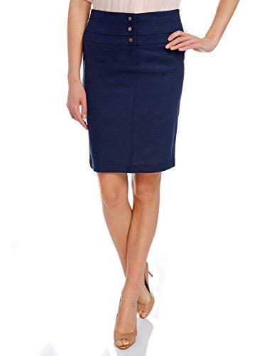 oodji Collection Mujer Falda de Lino Recta Azul (7900N)