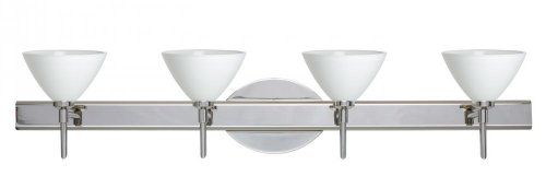 Besa Lighting 4SW-174307-CR 4X40W G9 Domi Wall Sconce with White Glass, Chrome Finish