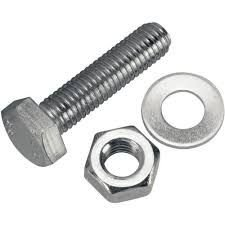 M5X50 A2 STAINLESS STEEL HEX HEAD SETSCREW (INC NUT & WASHER) - (PACK OF 25) Bescol