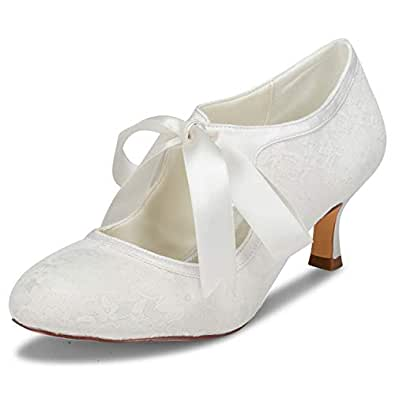 JIAJIA 140311 Women's Bridal Shoes Closed Toe Stiletto Heel Lace Satin Pumps Ribbon Tie Wedding Shoes Off-White Size: 5