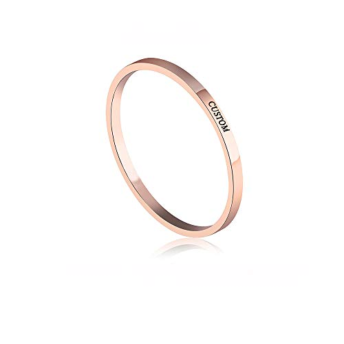 Custom Two Ring Finger (MANZHEN Gold Silver Personalized Initial Letter Ring Custom Name Rings for Women (Rose Gold 2))